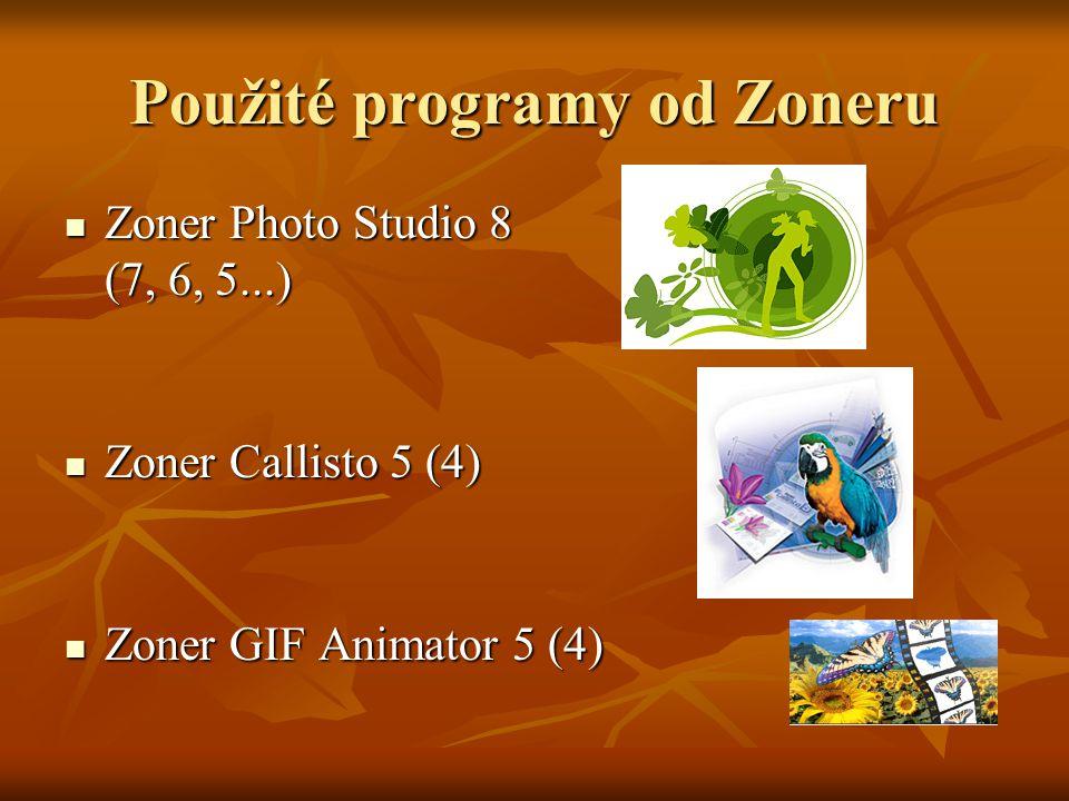 Použité programy od Zoneru