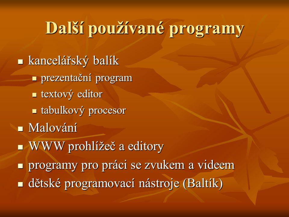 Další používané programy