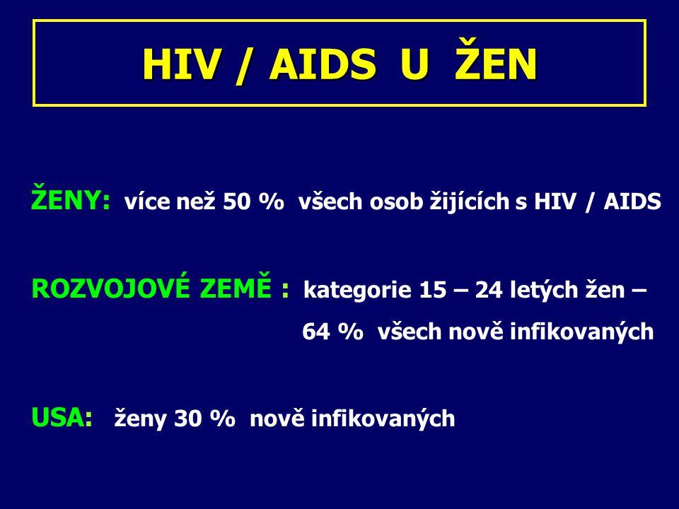 HIV / AIDS U ŽEN ŽENY: více než 50 % všech osob žijících s HIV / AIDS