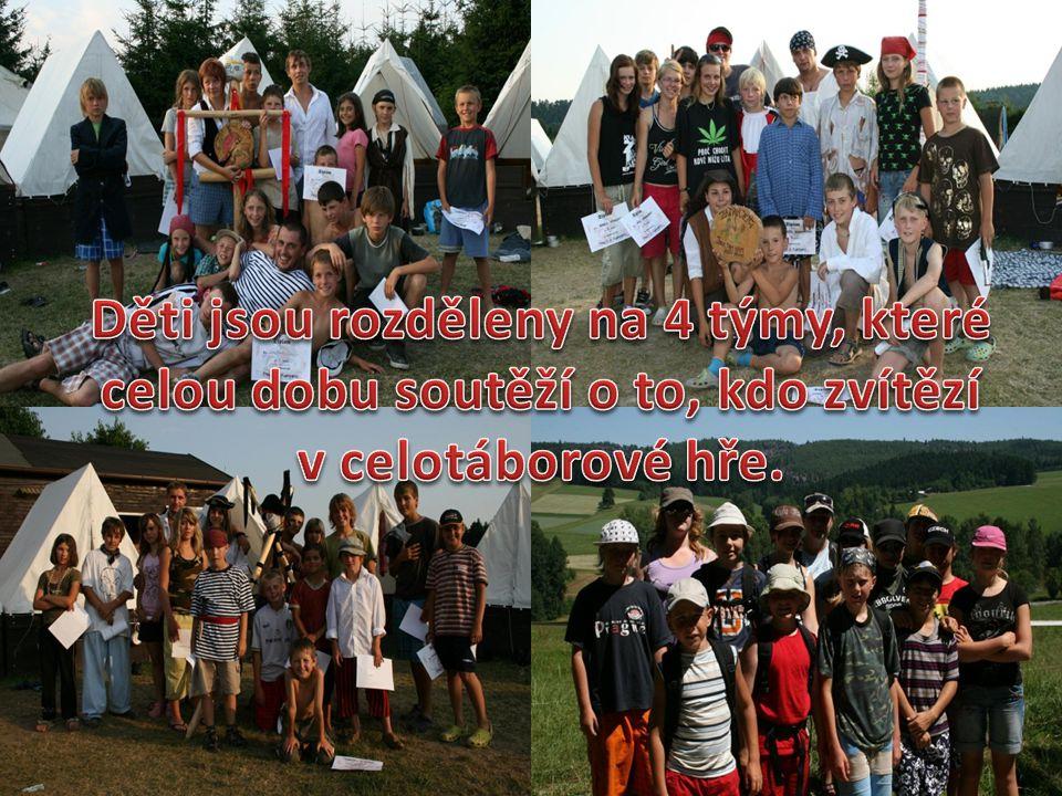 Děti jsou rozděleny na 4 týmy, které celou dobu soutěží o to, kdo zvítězí v celotáborové hře.