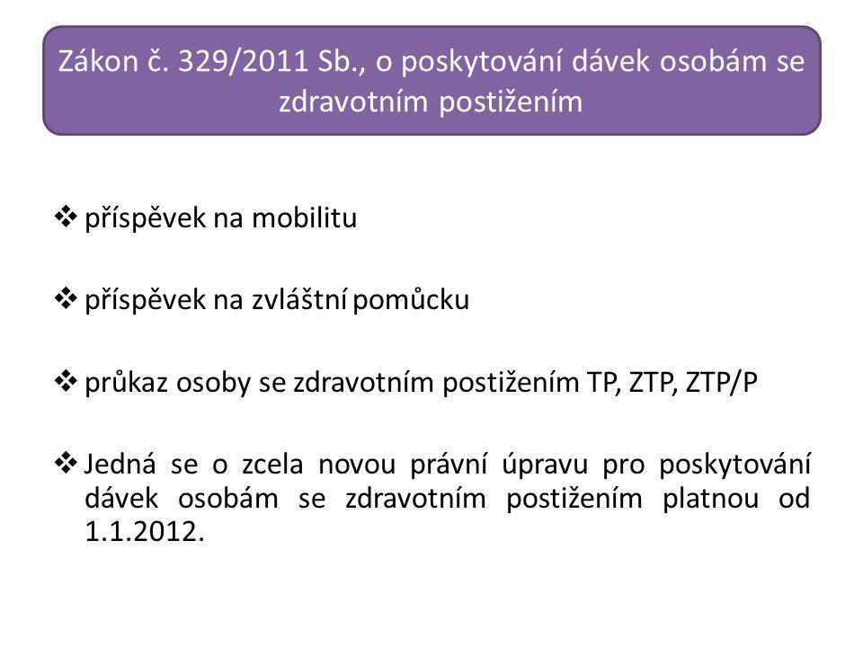 Zákon č. 329/2011 Sb., o poskytování dávek osobám se zdravotním postižením