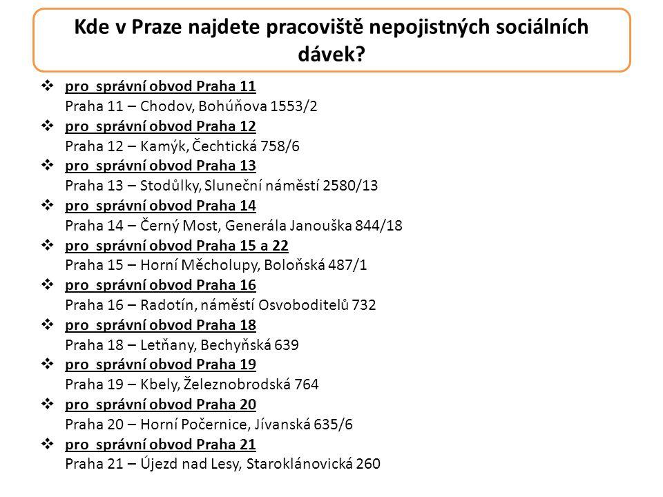 Kde v Praze najdete pracoviště nepojistných sociálních dávek