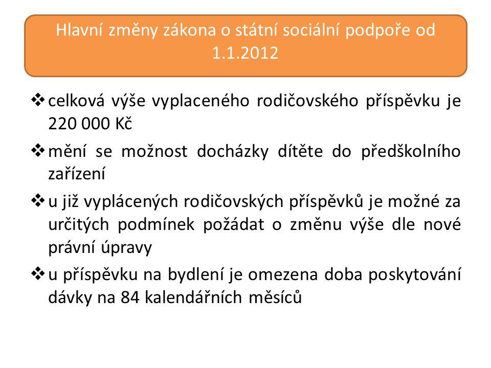 Hlavní změny zákona o státní sociální podpoře od 1.1.2012