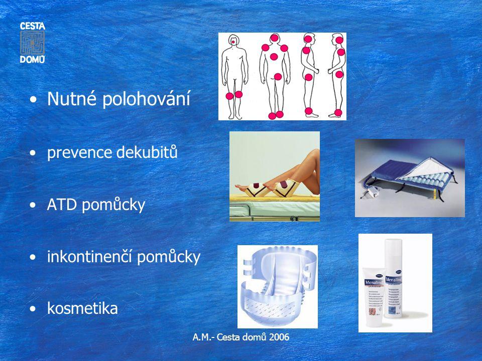 Nutné polohování prevence dekubitů ATD pomůcky inkontinenčí pomůcky