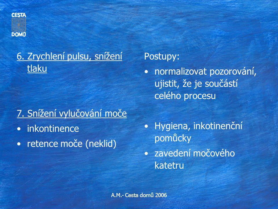 6. Zrychlení pulsu, snížení tlaku