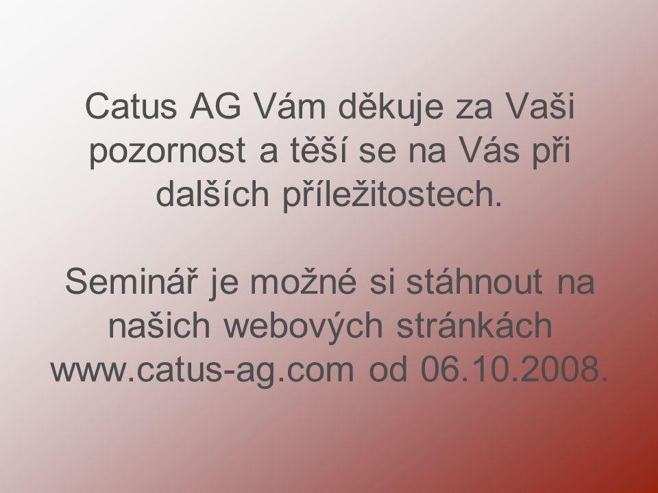 Catus AG Vám děkuje za Vaši pozornost a těší se na Vás při dalších příležitostech.