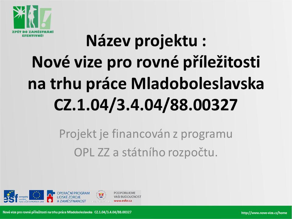 Projekt je financován z programu OPL ZZ a státního rozpočtu.
