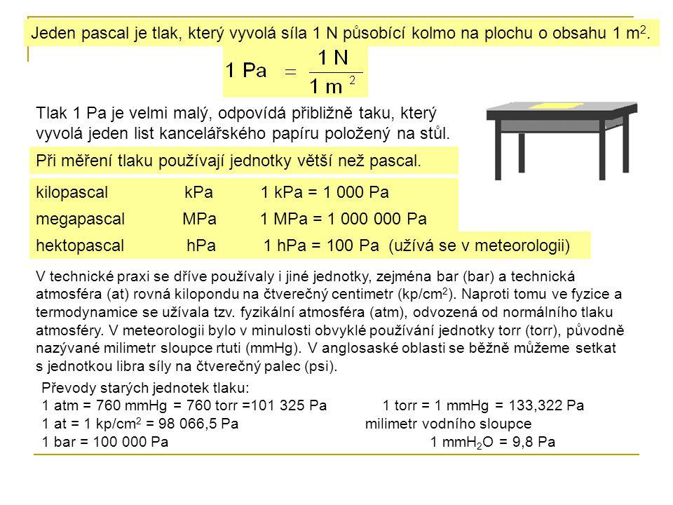 Při měření tlaku používají jednotky větší než pascal.