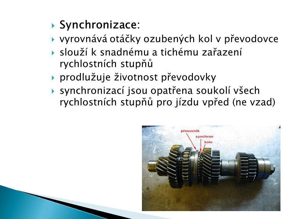 Synchronizace: vyrovnává otáčky ozubených kol v převodovce
