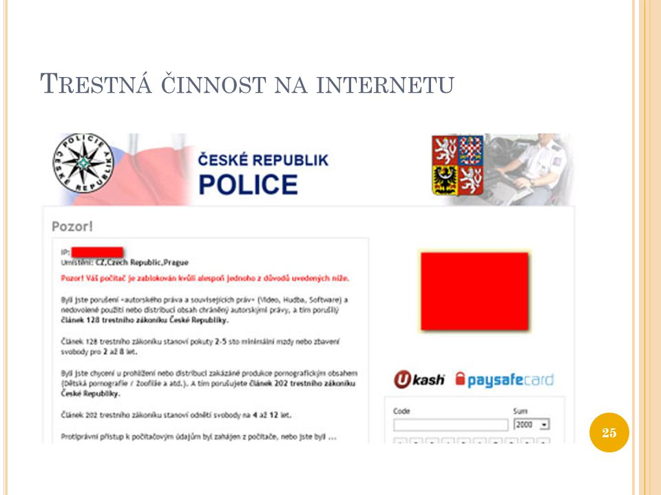Trestná činnost na internetu