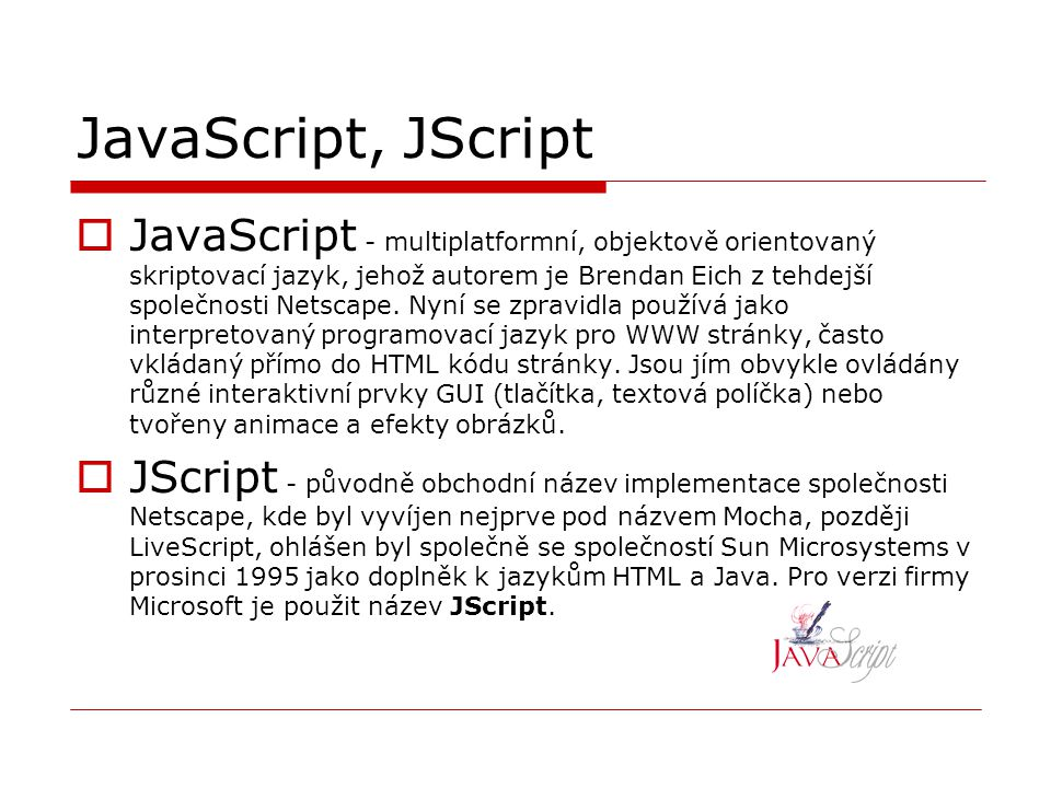 JavaScript, JScript