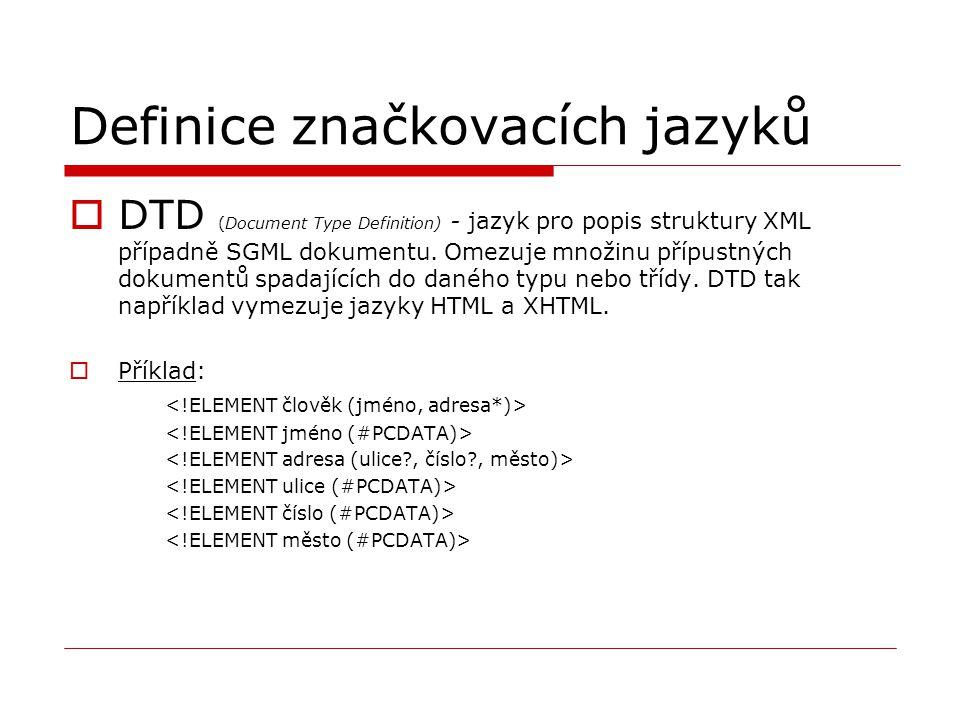 Definice značkovacích jazyků