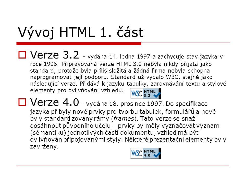 Vývoj HTML 1. část