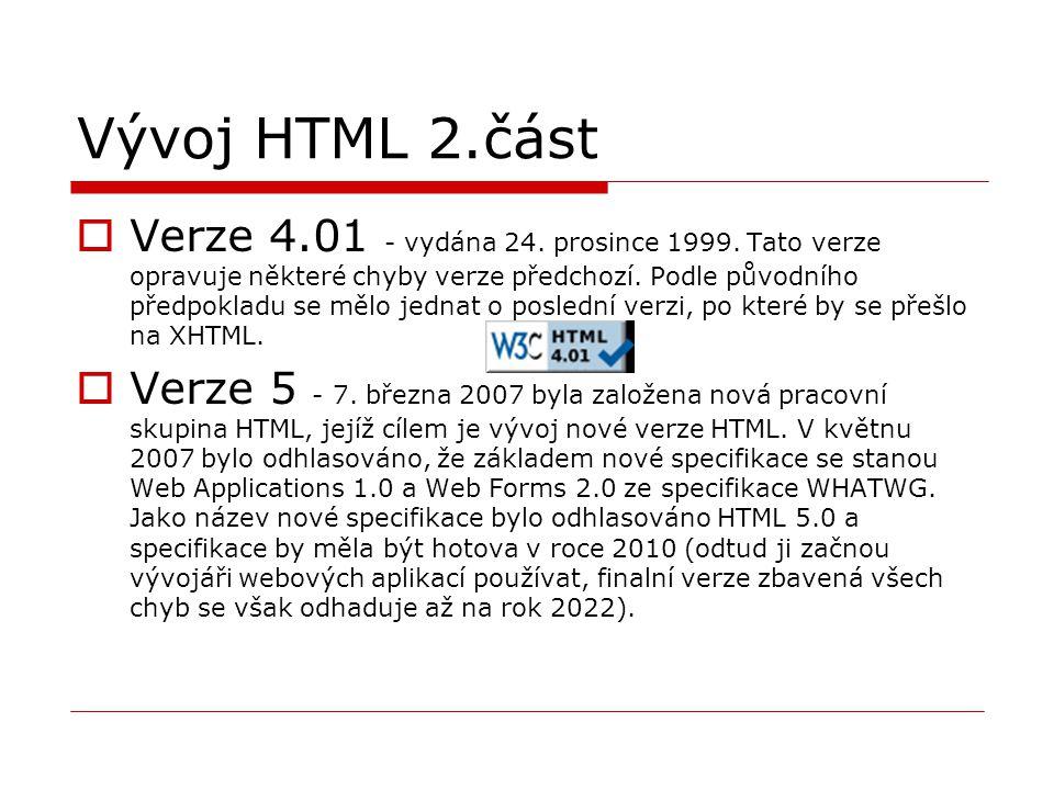 Vývoj HTML 2.část