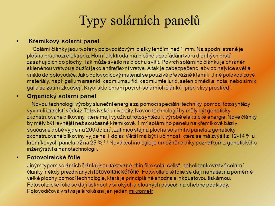Typy solárních panelů Křemíkový solární panel Organický solární panel