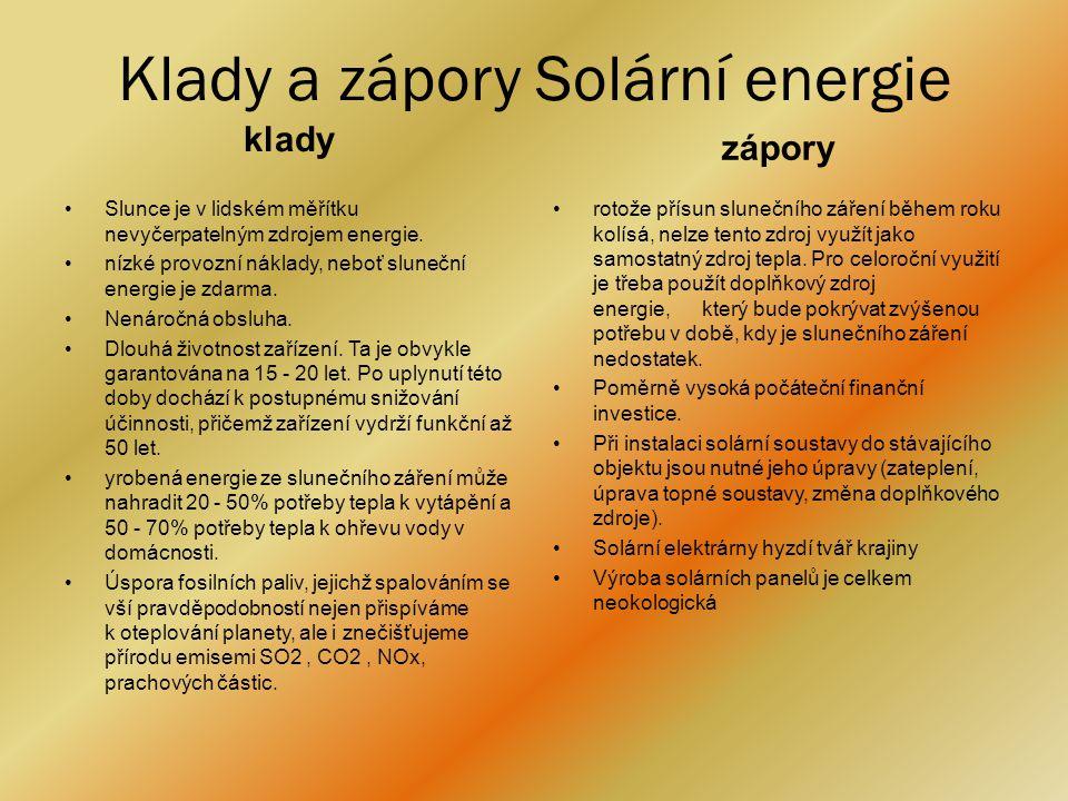 Klady a zápory Solární energie