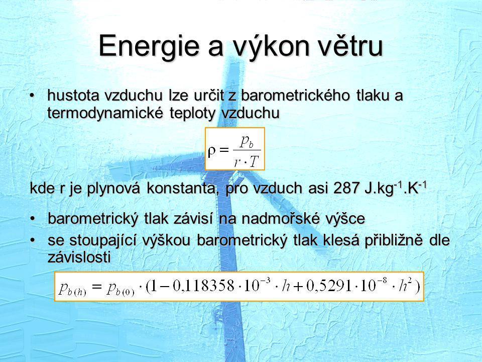 Energie a výkon větru hustota vzduchu lze určit z barometrického tlaku a termodynamické teploty vzduchu.