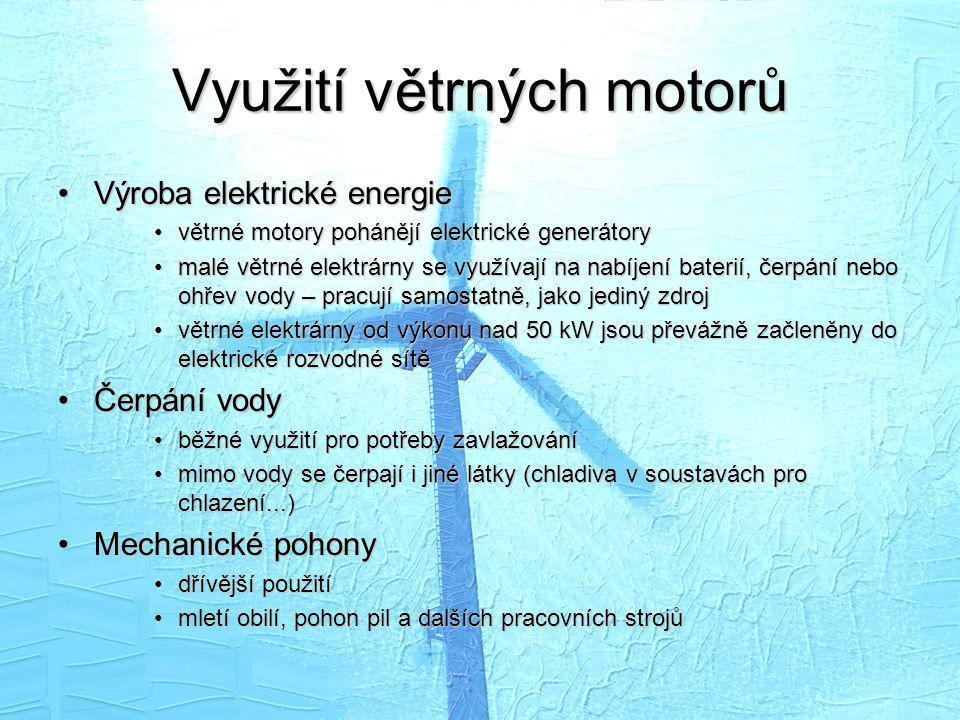Využití větrných motorů
