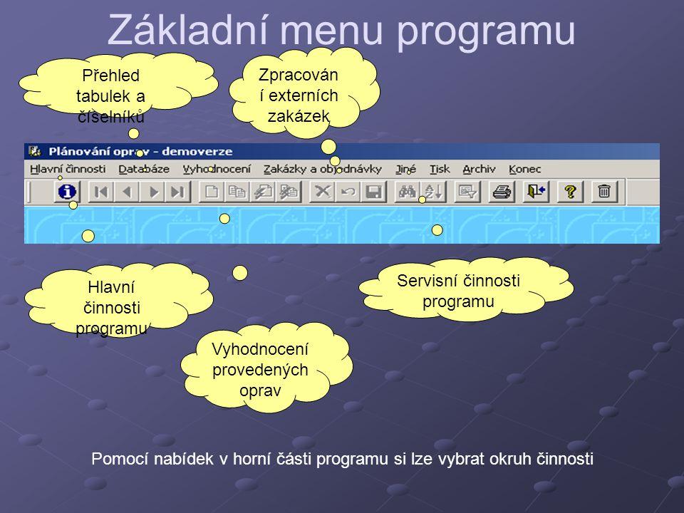 Základní menu programu