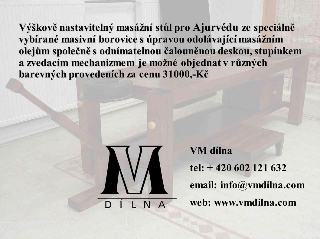 Výškově nastavitelný masážní stůl pro Ajurvédu ze speciálně vybírané masivní borovice s úpravou odolávající masážním olejům společně s odnímatelnou čalouněnou deskou, stupínkem a zvedacím mechanizmem je možné objednat v různých barevných provedeních za cenu 31000,-Kč