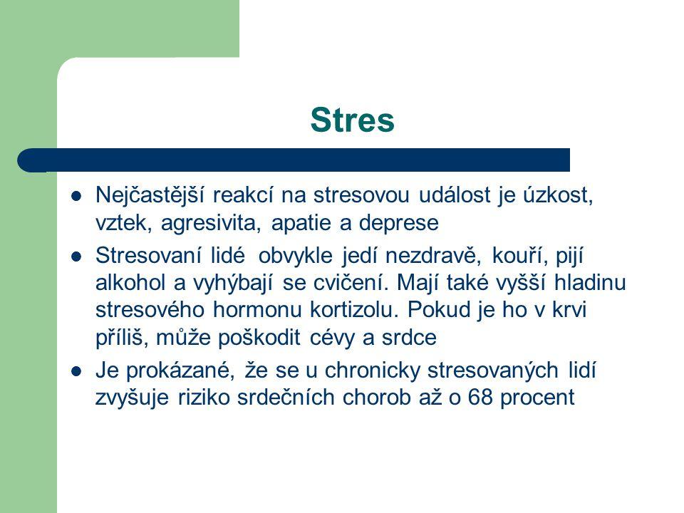 Stres Nejčastější reakcí na stresovou událost je úzkost, vztek, agresivita, apatie a deprese.