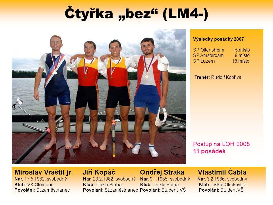 """Čtyřka """"bez (LM4-) Výsledky posádky 2007. SP Ottensheim 15.místo. SP Amsterdam 9.místo."""