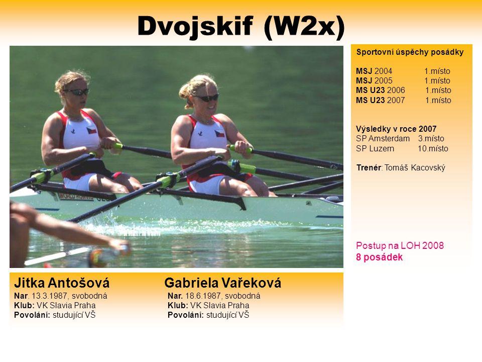 Dvojskif (W2x) Sportovní úspěchy posádky. MSJ 2004 1.místo. MSJ 2005 1.místo. MS U23 2006 1.místo.
