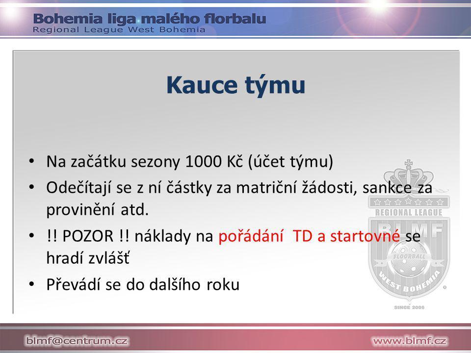 Kauce týmu Na začátku sezony 1000 Kč (účet týmu)