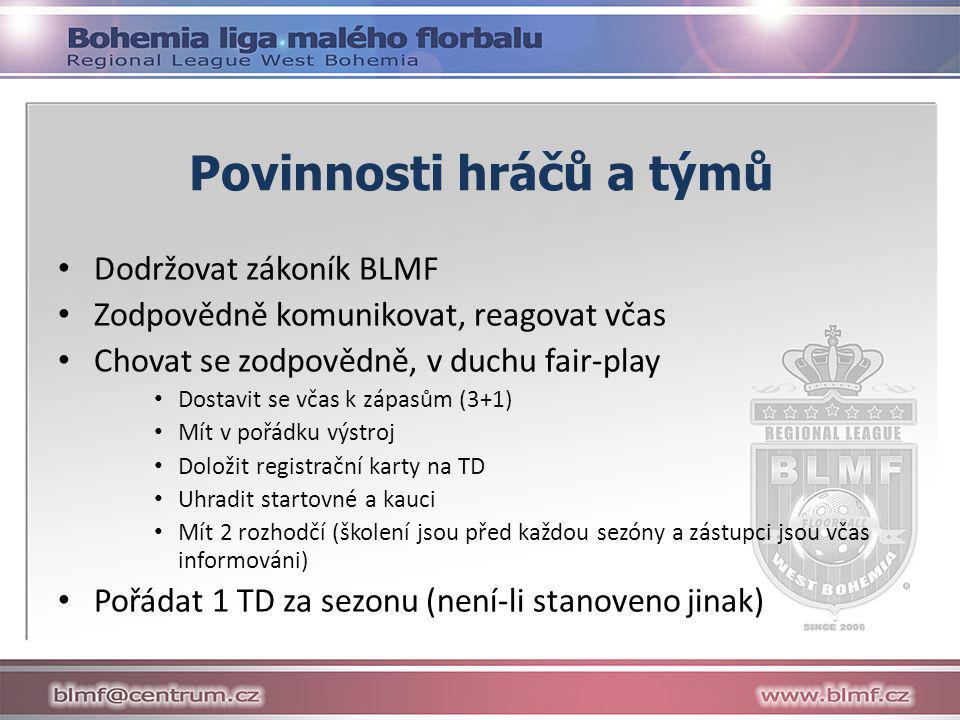 Povinnosti hráčů a týmů