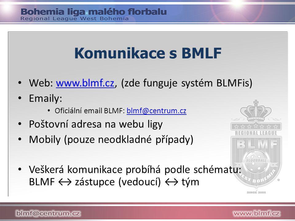 Komunikace s BMLF Web: www.blmf.cz, (zde funguje systém BLMFis) Emaily: Oficiální email BLMF: blmf@centrum.cz.