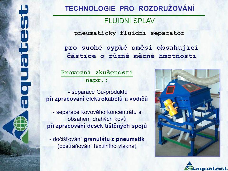 TECHNOLOGIE PRO ROZDRUŽOVÁNÍ FLUIDNÍ SPLAV