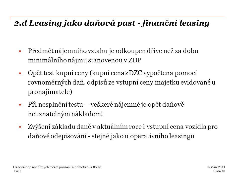 2.d Leasing jako daňová past - finanční leasing