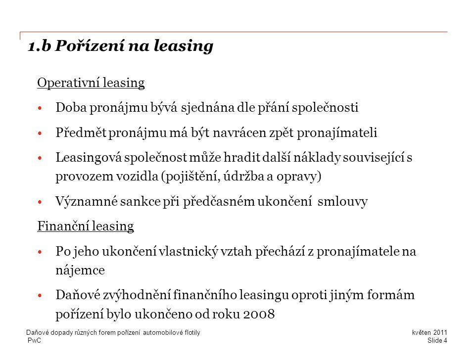 1.b Pořízení na leasing Operativní leasing