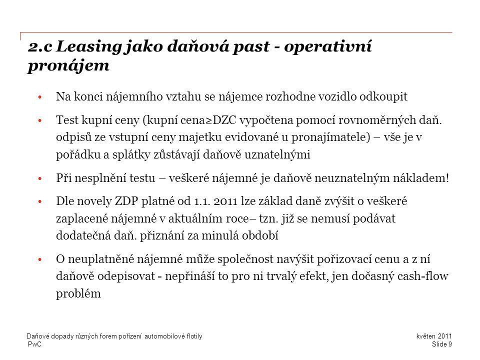 2.c Leasing jako daňová past - operativní pronájem
