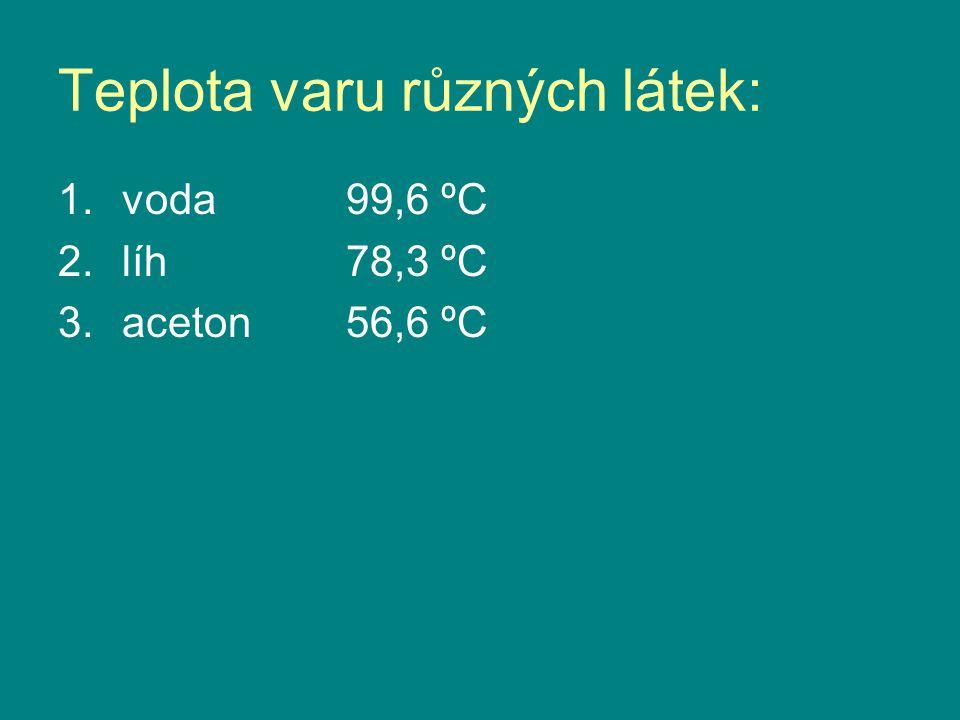 Teplota varu různých látek: