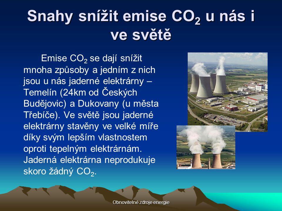 Snahy snížit emise CO2 u nás i ve světě