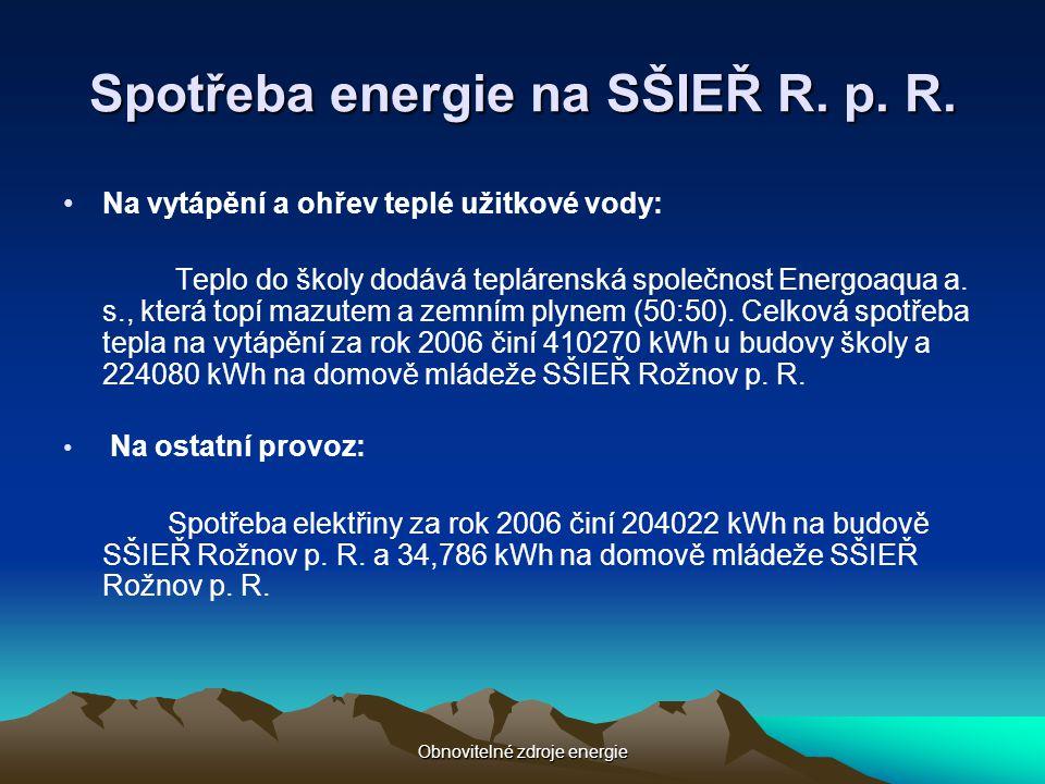Spotřeba energie na SŠIEŘ R. p. R.