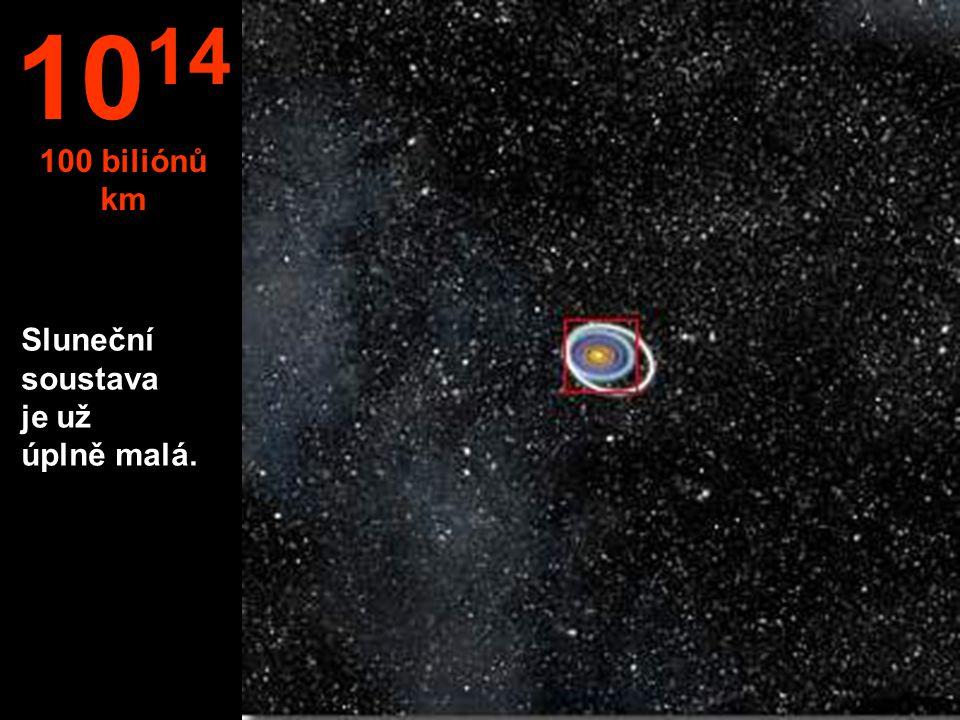 1014 100 biliónů km Sluneční soustava je už úplně malá.