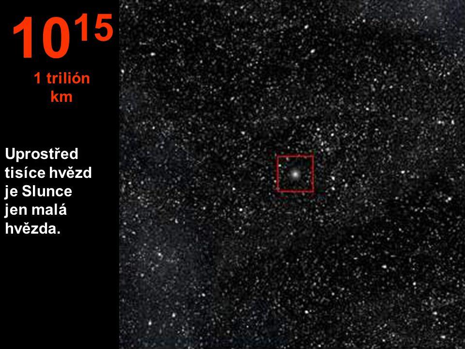 1015 1 trilión km Uprostřed tisíce hvězd je Slunce jen malá hvězda.