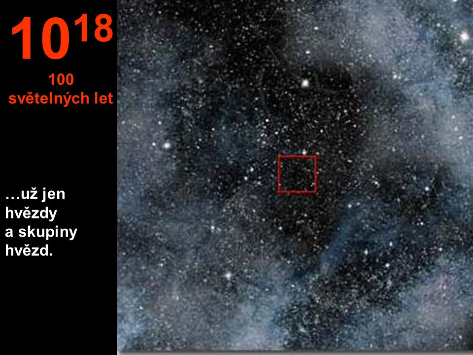 1018 100 světelných let …už jen hvězdy a skupiny hvězd.