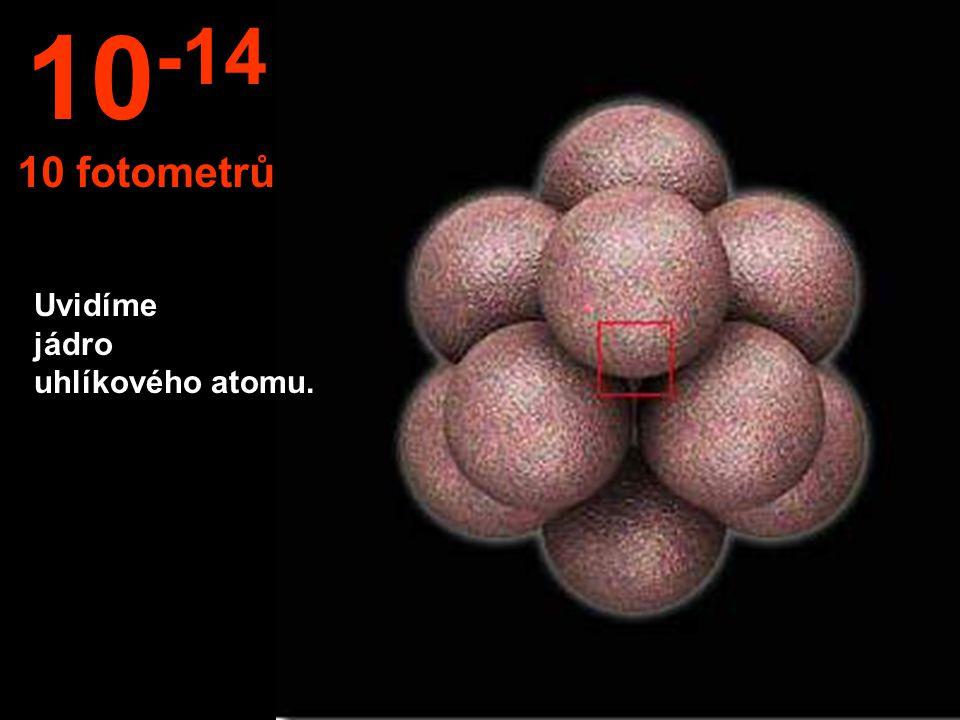 10-14 10 fotometrů Uvidíme jádro uhlíkového atomu.