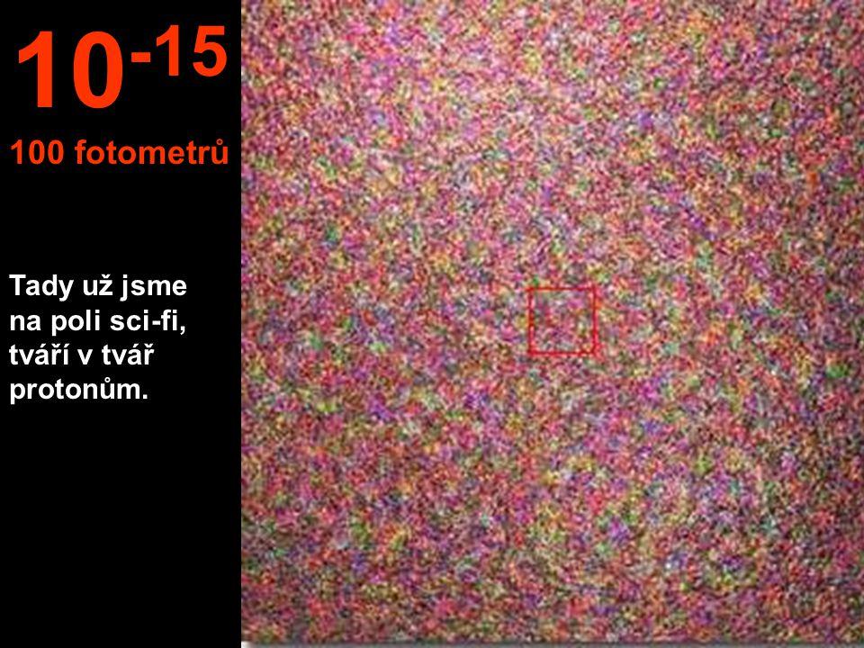 10-15 100 fotometrů Tady už jsme na poli sci-fi, tváří v tvář protonům.