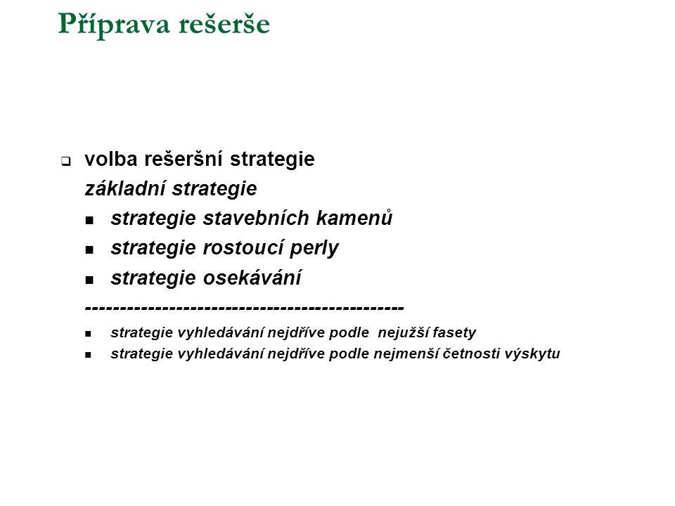Příprava rešerše volba rešeršní strategie základní strategie