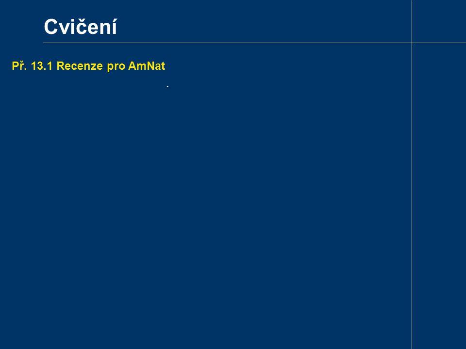 Cvičení Př. 13.1 Recenze pro AmNat .