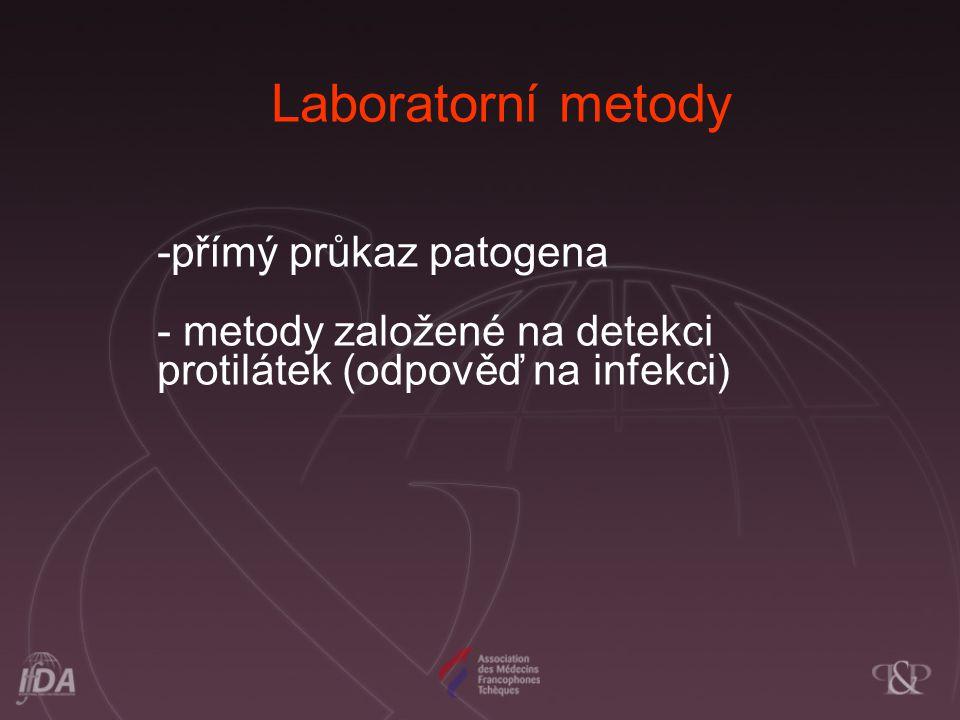 Laboratorní metody -přímý průkaz patogena - metody založené na detekci protilátek (odpověď na infekci)