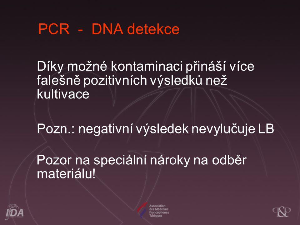 PCR - DNA detekce Díky možné kontaminaci přináší více falešně pozitivních výsledků než kultivace.