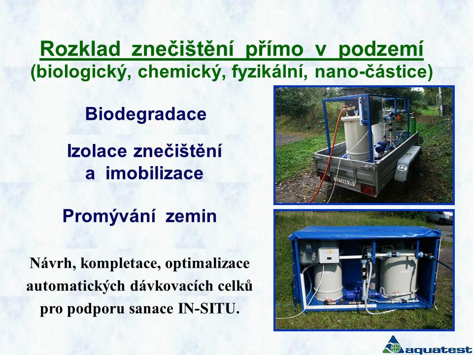 Rozklad znečištění přímo v podzemí (biologický, chemický, fyzikální, nano-částice)