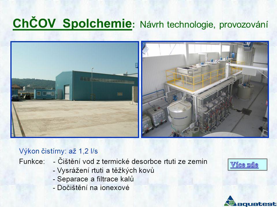 ChČOV Spolchemie: Návrh technologie, provozování