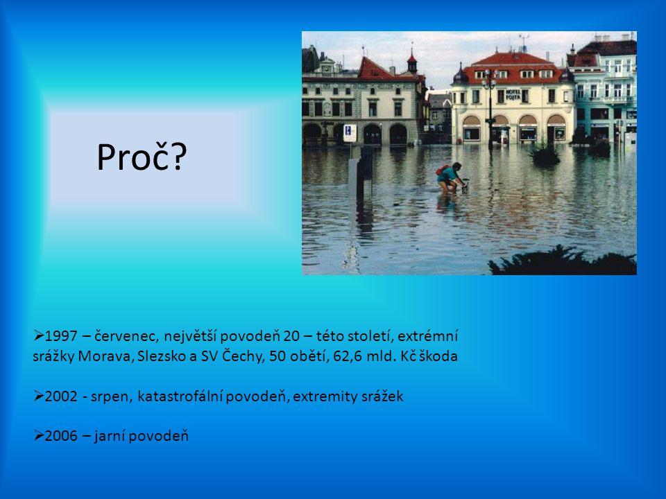 Proč 1997 – červenec, největší povodeň 20 – této století, extrémní srážky Morava, Slezsko a SV Čechy, 50 obětí, 62,6 mld. Kč škoda.