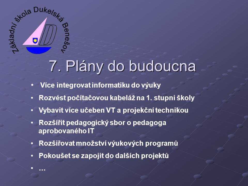 7. Plány do budoucna Více integrovat informatiku do výuky